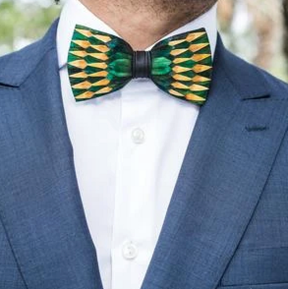 Brackish Springfield Peacock & Pheasant Feather Bow Tie