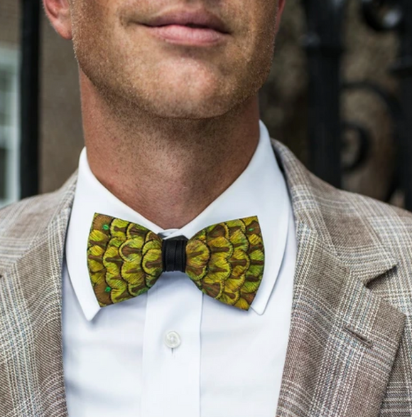 Brackish Douglas Peacock Feather Bow Tie
