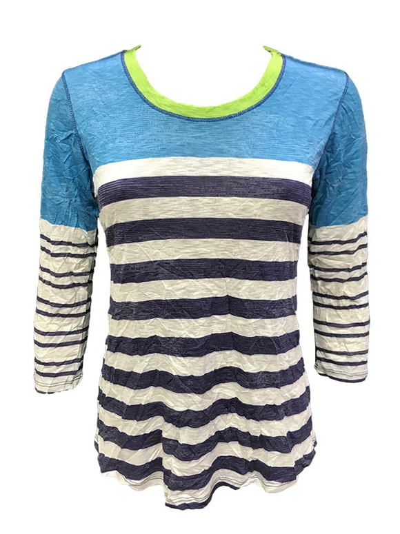 David Cline Turquoise Crushed 3/4 Sleeve Crew Neck Tee