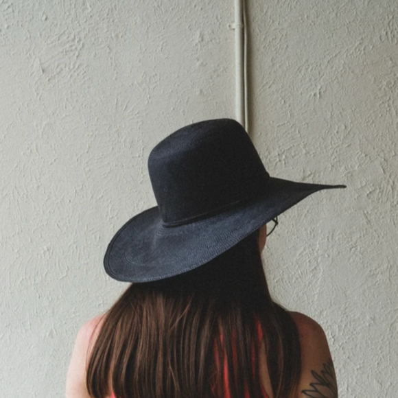 Brookes Boswell Suncrest Black Panama Straw Hat