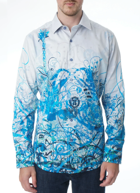Robert Graham Multi Mindscape Blues Sport Shirt