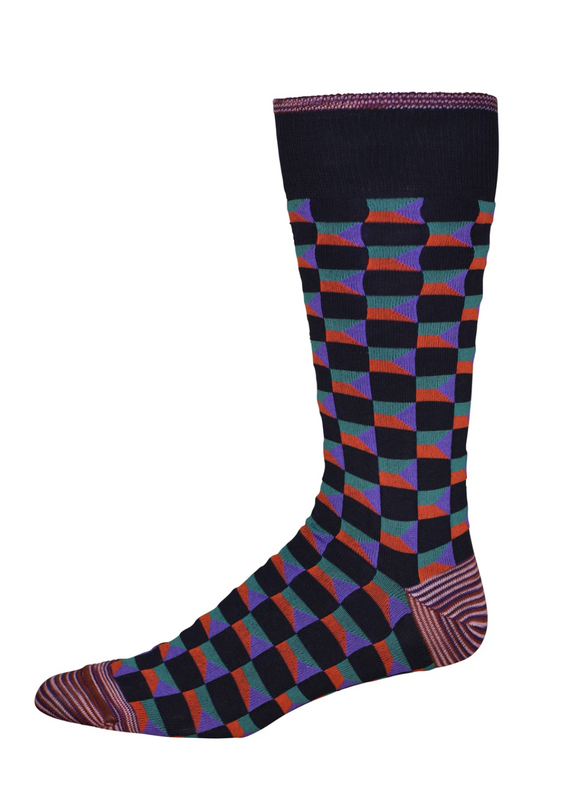 Robert Graham Navy Cubism Sock