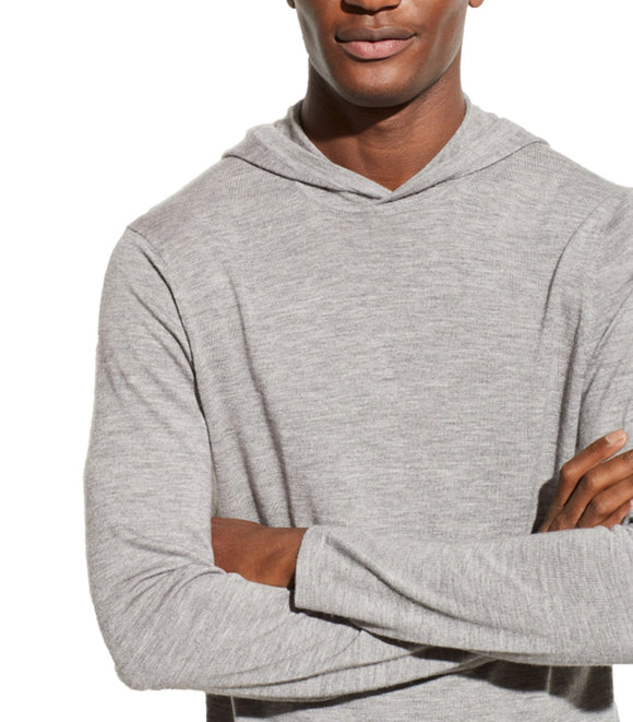 Vince Grey Featherweight Wool Cashmere Pullover Hoodie