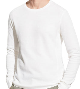 Vince's Crewneck long sleeve tee made of soft, refined slub cotton in a textured double knit, in a milky off white color.