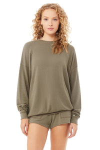 Alo Yoga Soho Pullover Lightweight Sweatshirt in Olive Branch Green