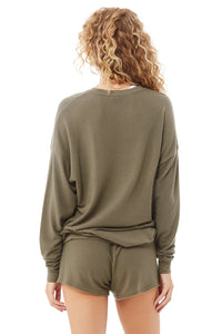 Alo Yoga Soho Pullover Lightweight Sweatshirt in Olive Branch Green, rear view