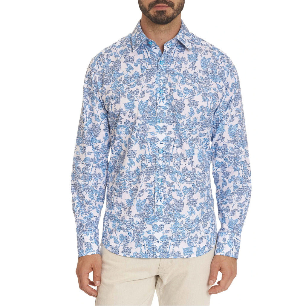 An abstract botanical floral feels breezy designed in a blue contrast circular print motif on this long sleeve cotton sport shirt. Flip the collar for a crosshatch cubist print.