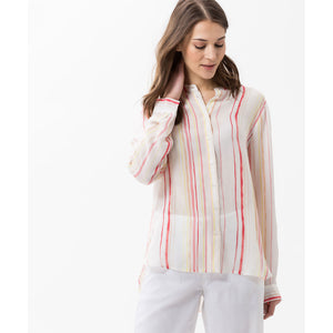 Brax Off White with Pink Stripe Val Striped Blouse