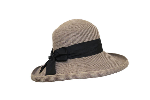Grevi Wide Brimmed Italian Hemp Hat with Black Sash style 5272/TR134