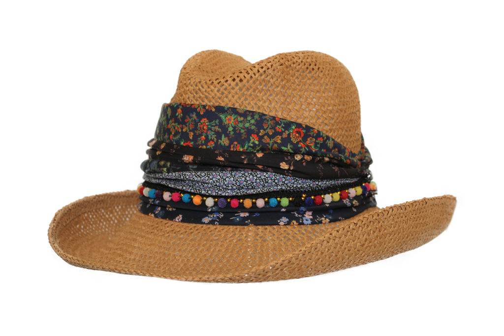 "Grevi ""Cowboy with Patchwork Fabrics"" Italian Straw Hat style 5010/E254"