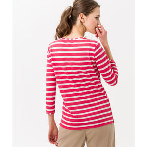 Brax - Claire Linen Shirt 3/4 Sleeve Papaya Stripes