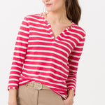 Load image into Gallery viewer, Brax - Claire Linen Shirt 3/4 Sleeve Papaya Stripes
