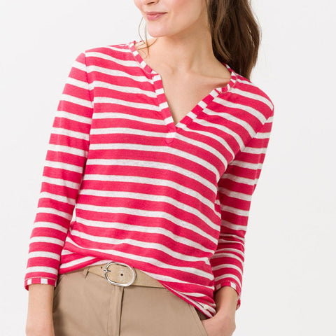 BRAX Claire Linen Shirt 3/4 Sleeve Papaya Stripes