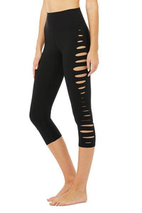 Alo Yoga Black Slice High Waist Capri Legging