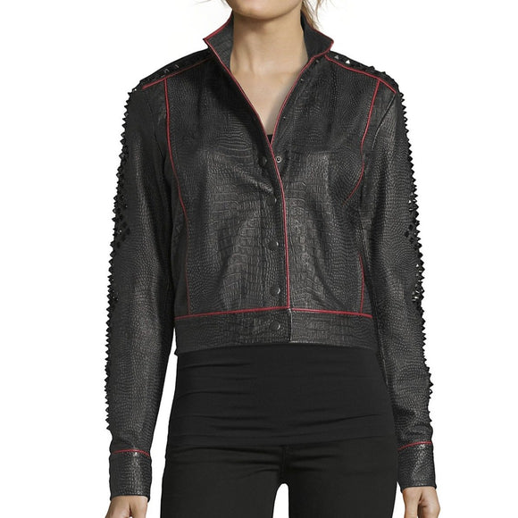 Robert Graham Greta Leather Embellished Jacket