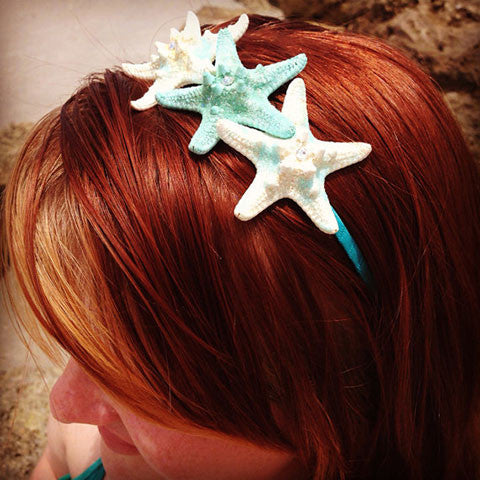 Mermaid Starfish Triple Headband (Blue&White Glitter)