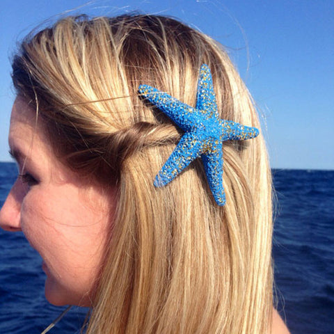 Mermaid Starfish Hair-clips Blue & Gold Glitter