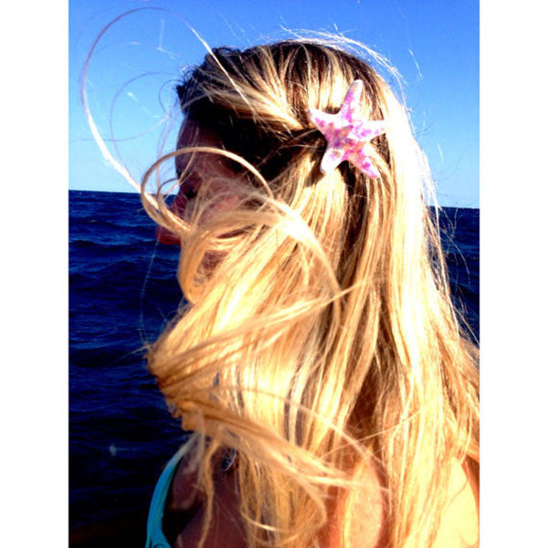 Mermaid Starfish Hair-clips (Knobby White & Pink Glitter)