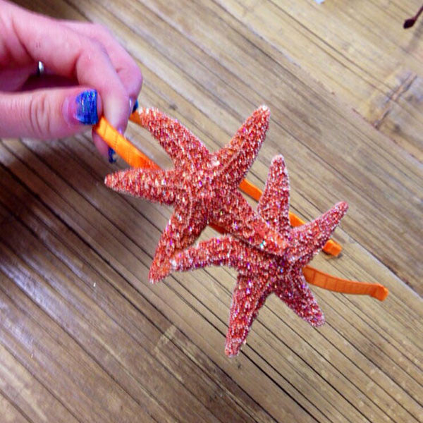 Mermaid Starfish Hair-clips (Gold Glitter Headband)