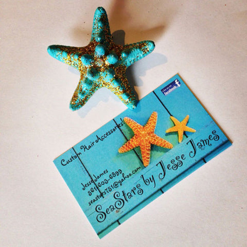 Mermaid Starfish Hair-clips (Mint & Gold Glitter)