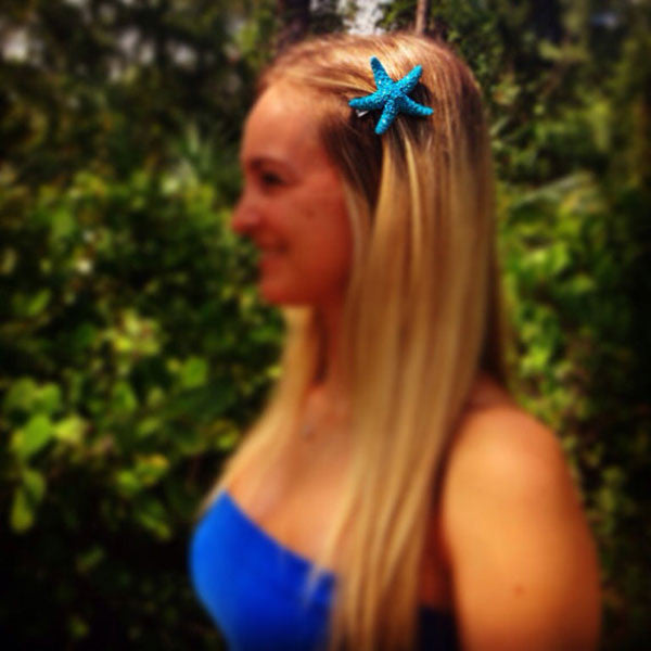 Starfish Hair-clips (Deep sea blue & Glitter)