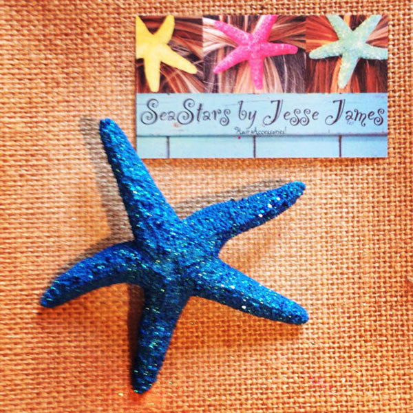 Starfish Hair-clip (Dark Blue Sea & Glitter)