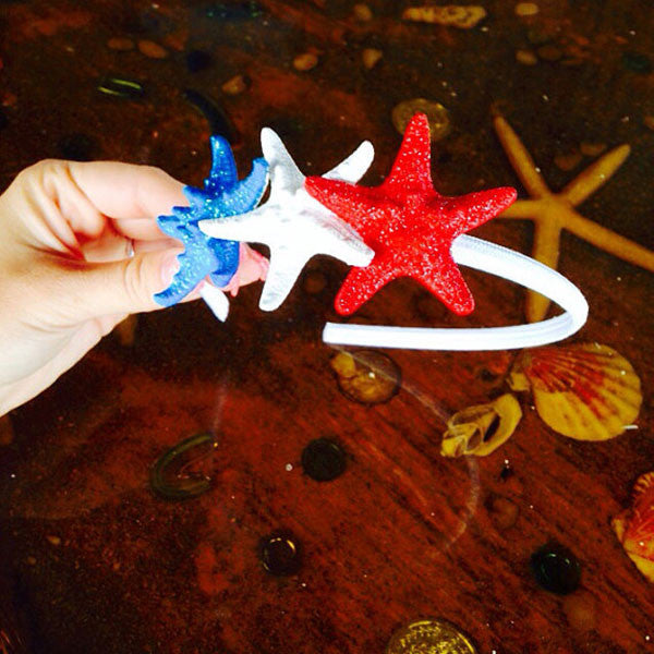 Red, White & Blue glitter Starfish Headband