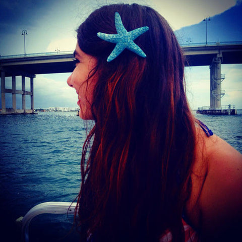 Starfish Hair Clip (Blue Sea & Glitter)