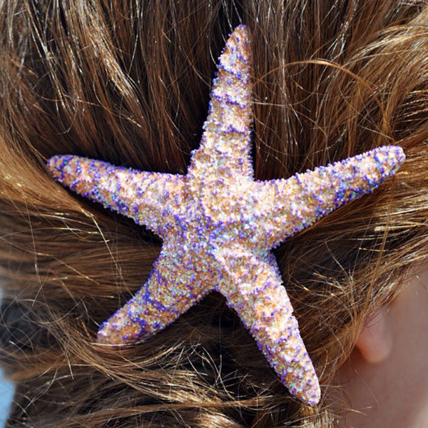 Starfish Hair-clip (Purple & Sliver Glitter)