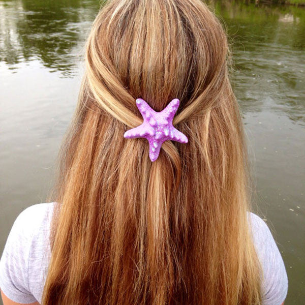 Starfish Hair Clip (Light Purple Glitter)
