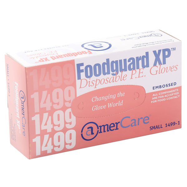 Glove, Foodguard, Embossed HDPE, PF, Small box standing.