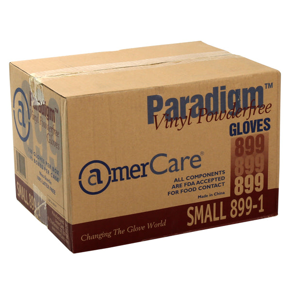 Paradigm Vinyl Gloves, Powder-Free, Small box standing.
