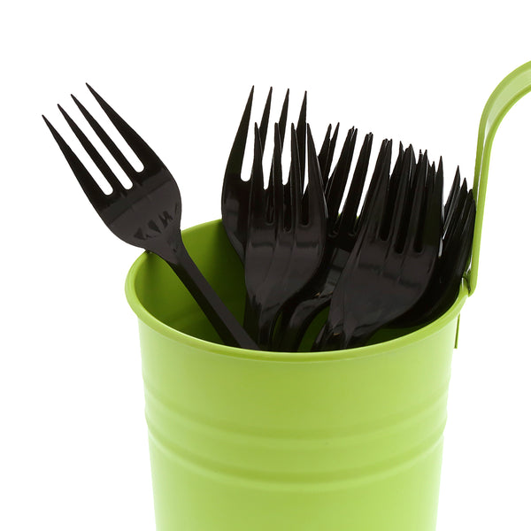 Medium Weight Black Polypropylene Forks