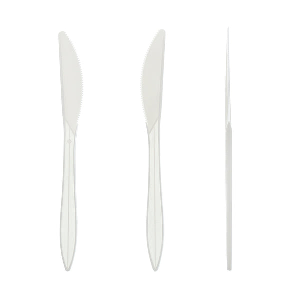 Medium Weight White Polypropylene Individually Wrapped Knives