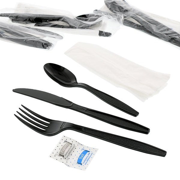 "6 Piece Kit Black Heavy Weight Polystyrene Fork-Teaspoon-Knife-13"" x 17"" Napkin-S&P"