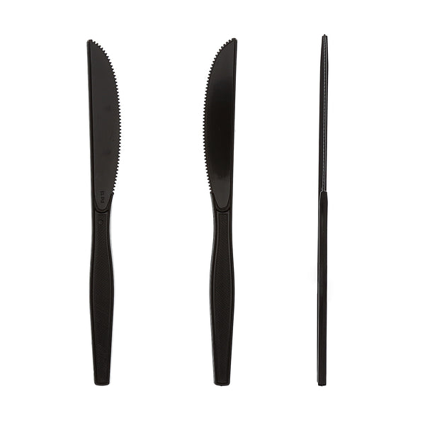 Medium Heavy Black Polystyrene Knives, Case of 1,000