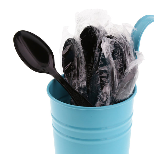 Heavy Black Polystyrene Individually Wrapped Teaspoons