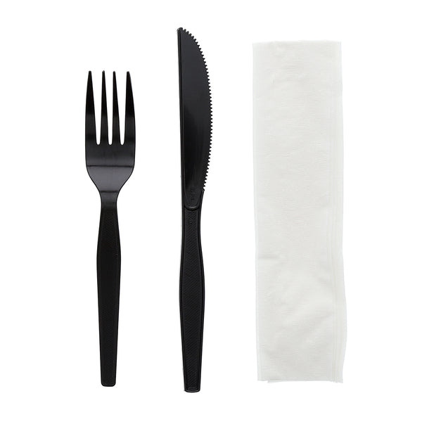 "3 Piece Kit Black Medium Heavy Weight Fork-Knife-12"" x 13"" Napkin, Case of 500"