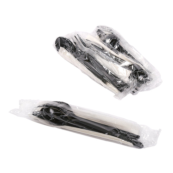 "4 Piece Kit Black Heavy Weight Fork-Knife-Soup Spoon-13"" x 17"" Napkin, Case of 250"
