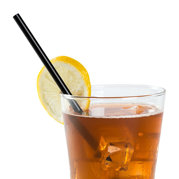 "5.75"" Jumbo Black Unwrapped Straws in Beverage"