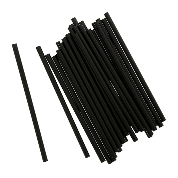 "5.75"" Jumbo Black Unwrapped Straws"