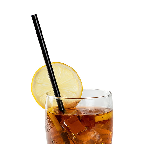"10.25"" Giant Black Paper Wrapped Straws in Beverage"