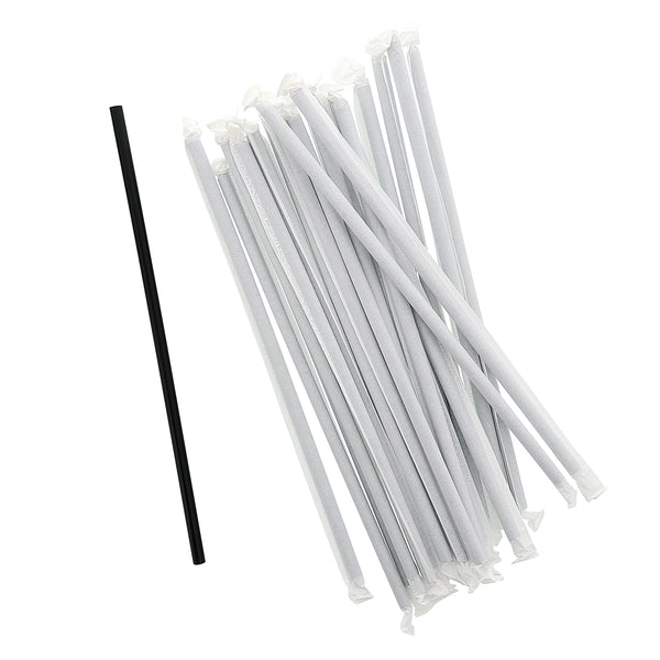 "10.25"" Giant Black Paper Wrapped Straws"