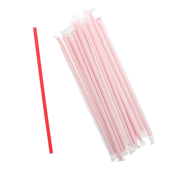 "10.25"" Giant Red Paper Wrapped Straws"