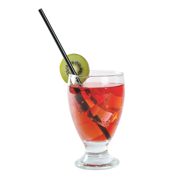 "7.75"" Jumbo Jumbo Black Unwrapped Straws in Beverage"