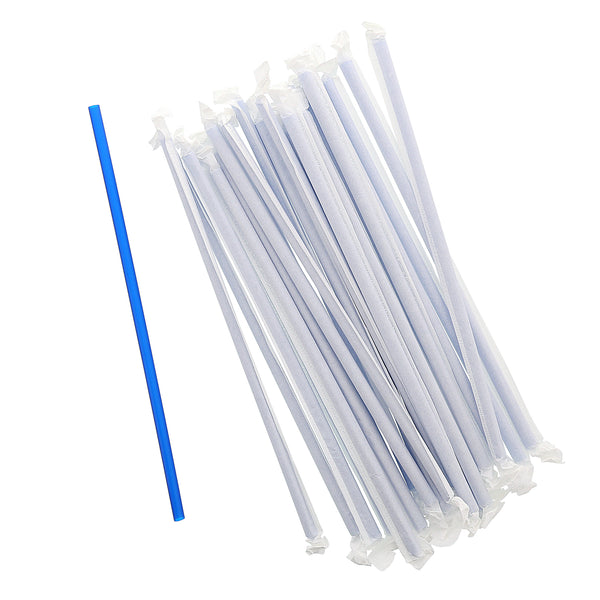 "10.25"" Giant Paper Wrapped Blue Straws"