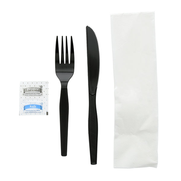 "5 Piece Kit Black Medium Heavy Weight Fork-Knife-S&P-13"" x 17"" 2-Ply Napkin, Case of 500"