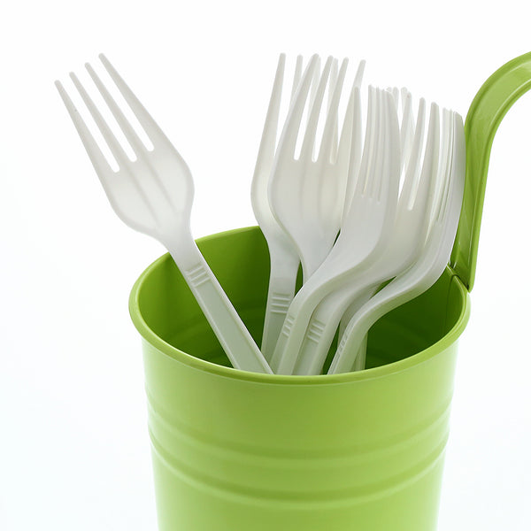Medium Heavy Weight White Polypropylene Forks