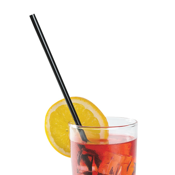 "10.25"" Jumbo Black Paper Wrapped Straws with Beverage"