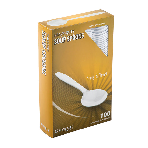 Heavy White Polystyrene Soup Spoons, Case of 1,000
